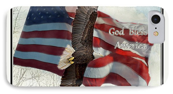 Bald Eagle  God Bless America Phone Case by Debbie Portwood
