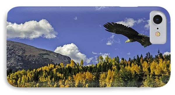 Bald Eagle Over The Aspen IPhone Case by Stephen  Johnson