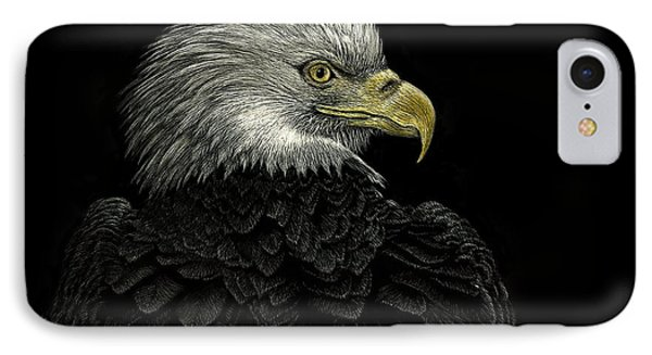 IPhone Case featuring the drawing American Bald Eagle by Sandra LaFaut