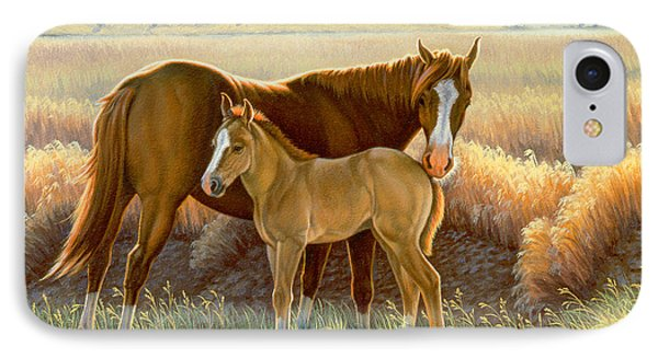 Bald-faced Sorrel And Colt Phone Case by Paul Krapf