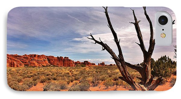 Bald Tree At Arches  Phone Case by Benjamin Yeager