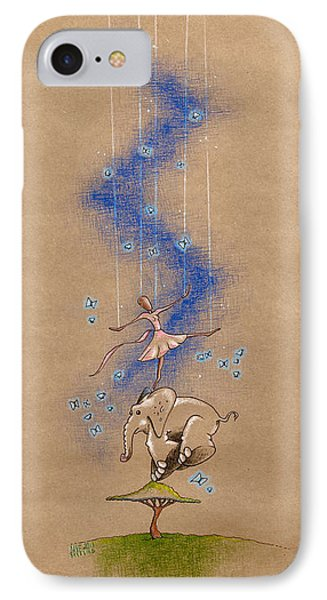 Ballerina And Elephant IPhone Case by David Breeding