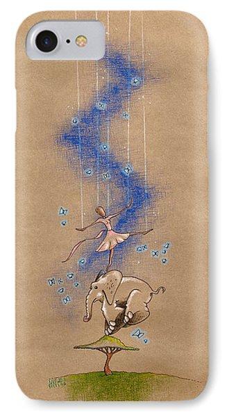 Ballerina And Elephant IPhone Case by David Breeding