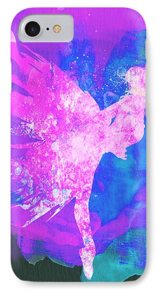 Ballerina On Stage Watercolor 1 Phone Case by Naxart Studio