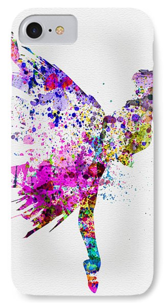 Ballerina On Stage Watercolor 3 IPhone Case by Naxart Studio