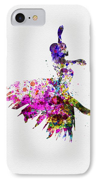 Ballerina On Stage Watercolor 4 IPhone Case by Naxart Studio