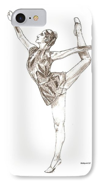 Ballet A Pencil Study In Black And White Phone Case by Mario Perez