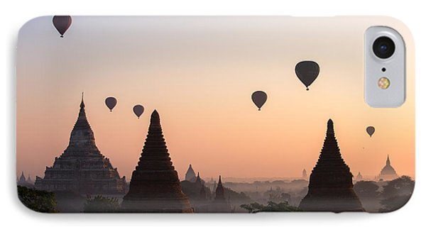 Ballons Over The Temples Of Bagan At Sunrise - Myanmar IPhone Case by Matteo Colombo
