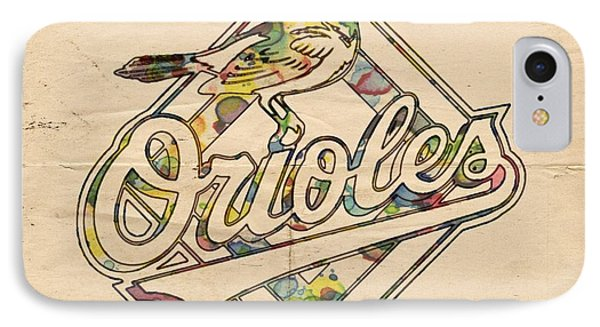 Baltimore Orioles Vintage Poster IPhone Case by Florian Rodarte