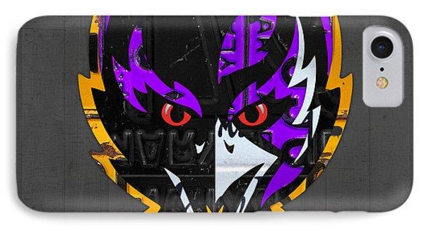 Baltimore Ravens Football Team Retro Logo Maryland License Plate Art IPhone Case