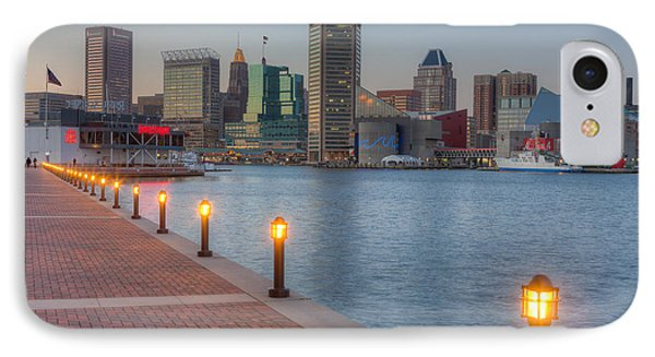 Baltimore Skyline At Twilight I IPhone Case by Clarence Holmes