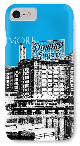 Baltimore Skyline Domino Sugar - Ice Blue IPhone Case by DB Artist