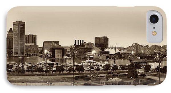 Baltimore Skyline Panorama In Sepia IPhone Case by Susan Candelario