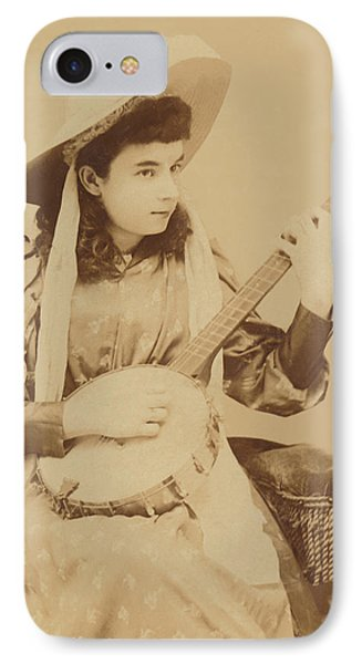 Banjo Girl 1880s IPhone Case by Paul Ashby Antique Image