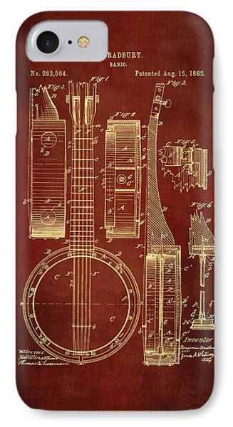 Banjo Patent Drawing - Burgundy IPhone Case by Maria Angelica Maira