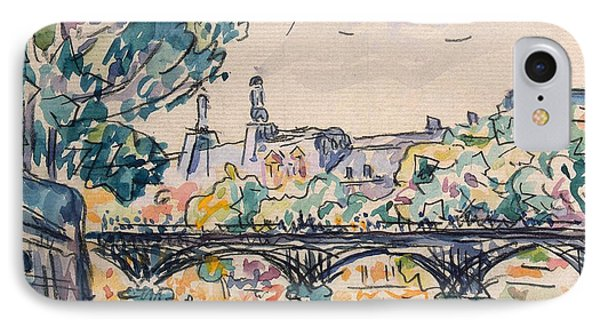 Bank Of The Seine Near The Pont Des Arts IPhone Case by Paul Signac