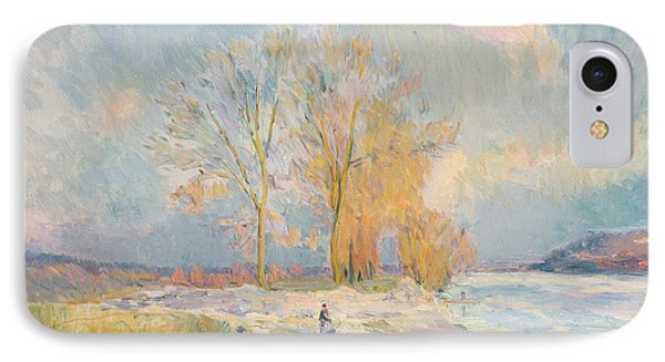 Banks Of The Seine And Vernon In Winter IPhone Case by Albert Charles Lebourg