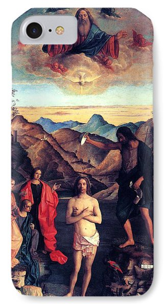 IPhone Case featuring the painting Baptism Of Christ With Saint John 1502 Giovanni Bellini by Karon Melillo DeVega
