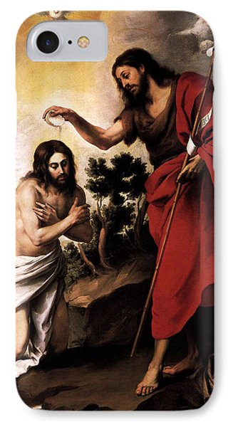 Baptism Of Jesus Christ IPhone Case by Esteban Murillo