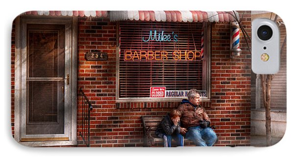 Barber - Metuchen Nj - Waiting For Mike Phone Case by Mike Savad