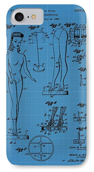 Barbie Doll Blueprint IPhone Case by Dan Sproul