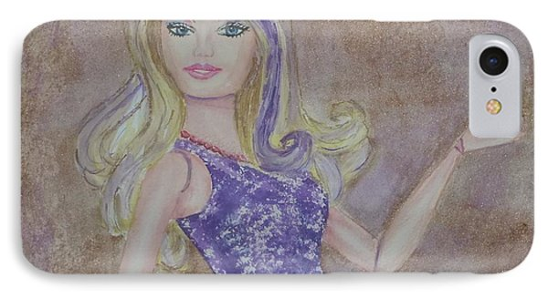 IPhone Case featuring the painting Barbie ... Purple by Kelly Mills