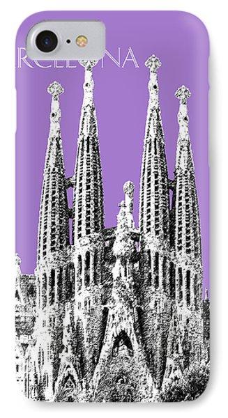 Barcelona Skyline La Sagrada Familia - Violet IPhone Case by DB Artist