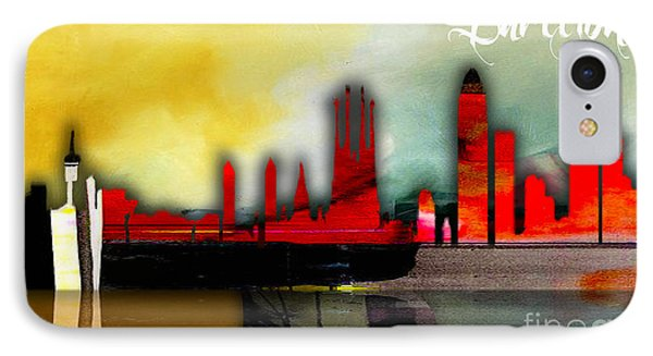 Barcelona Spain Skyline Watercolor IPhone Case by Marvin Blaine