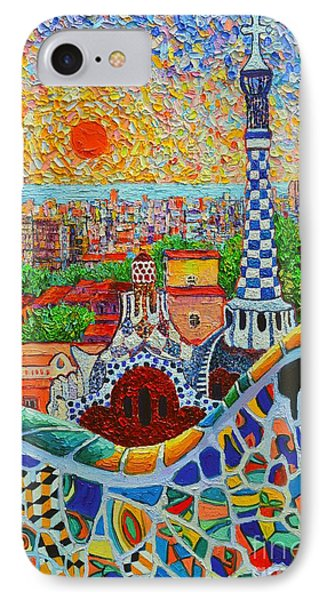 Barcelona Sunrise - Guell Park - Gaudi Tower IPhone Case by Ana Maria Edulescu