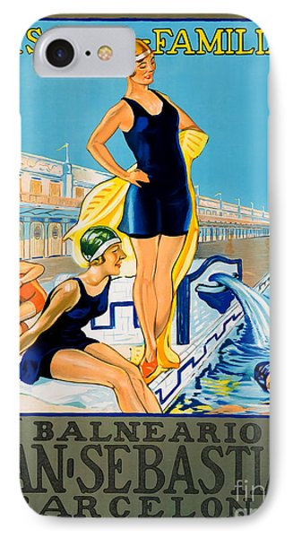 Barcelona Vintage Travel Poster IPhone Case by Jon Neidert