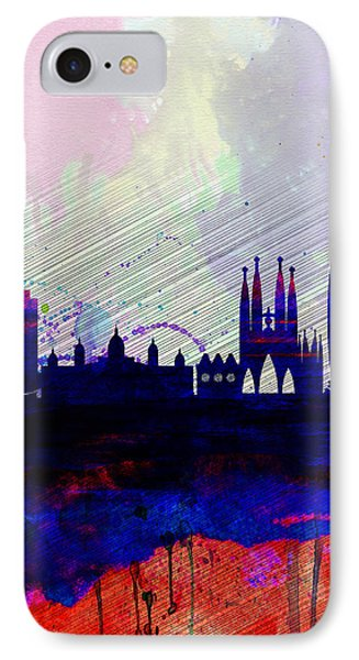 Barcelona Watercolor Skyline 2 IPhone Case by Naxart Studio
