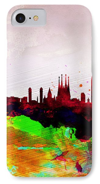 Barcelona Watercolor Skyline IPhone Case by Naxart Studio