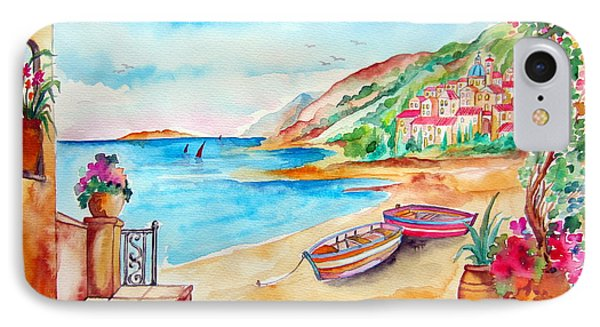 IPhone Case featuring the painting Barche Sulla Spiaggia by Roberto Gagliardi