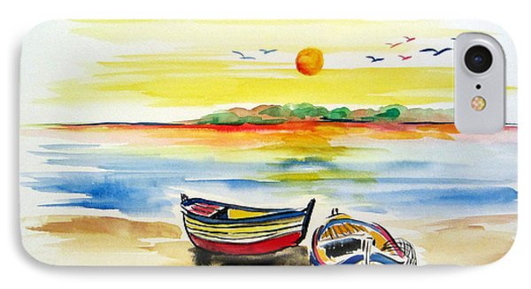IPhone Case featuring the painting Barchette In The Sunset by Roberto Gagliardi