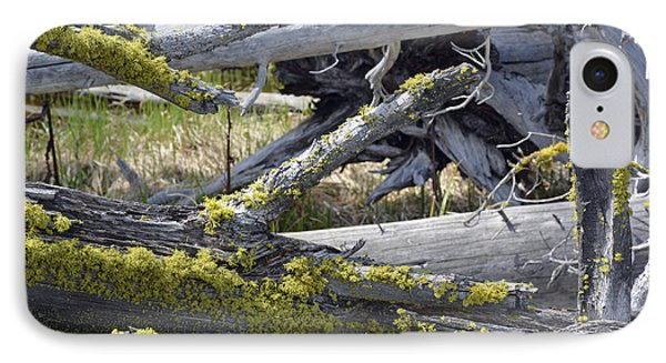 Bare Logs And Lichen In Yellowstone Phone Case by Bruce Gourley