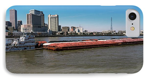 Barge In The Mississippi River, New IPhone Case by Panoramic Images