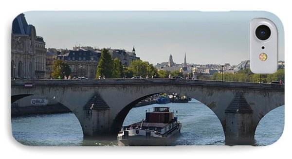 Barge On River Seine IPhone Case by Cheryl Miller