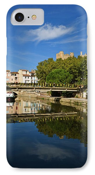 Barges On The Canal Du Midi As It Runs IPhone Case by Panoramic Images