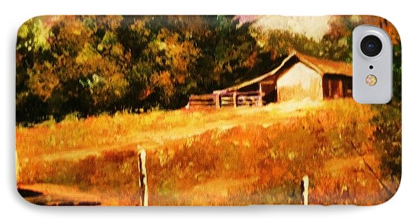 IPhone Case featuring the painting Barn Above The Creekbed by Al Brown