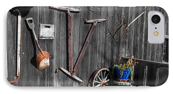 Barn Art No.3 - Color On Black And White Phone Case by Janice Adomeit