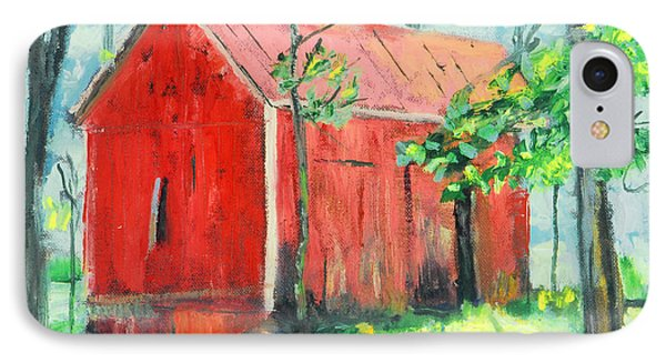 IPhone Case featuring the painting Barn At Walpack by Michael Daniels