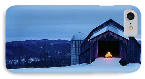 Barn In A Snow Covered Field, Vermont IPhone Case by Panoramic Images