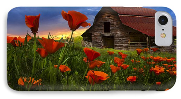 Barn In Poppies IPhone Case by Debra and Dave Vanderlaan