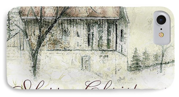 Barn In Snow Christmas Card IPhone Case