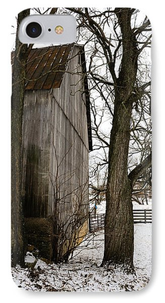 Barn In Winter IPhone Case by Donald Fink
