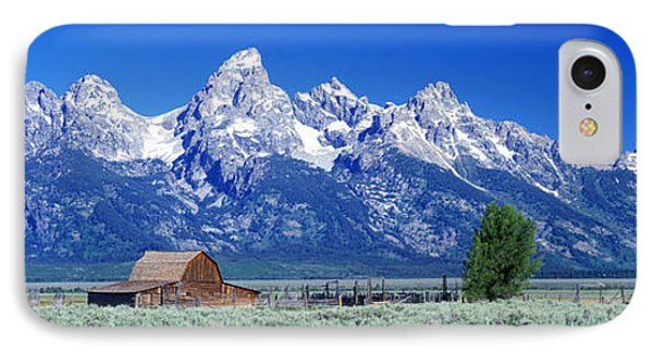 Barn On Plain Before Mountains, Grand IPhone Case by Panoramic Images