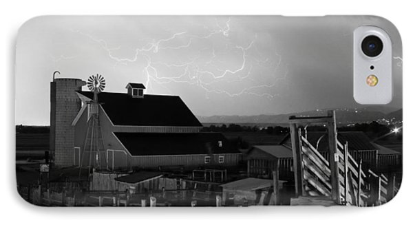 Barn On The Farm And Lightning Thunderstorm Bw Phone Case by James BO  Insogna