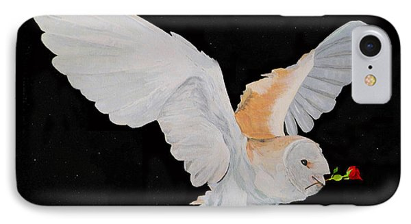 IPhone Case featuring the mixed media Barn Owl With Rose by Eric Kempson
