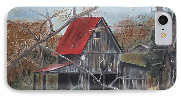 IPhone Case featuring the painting Barn - Red Roof - Autumn by Jan Dappen