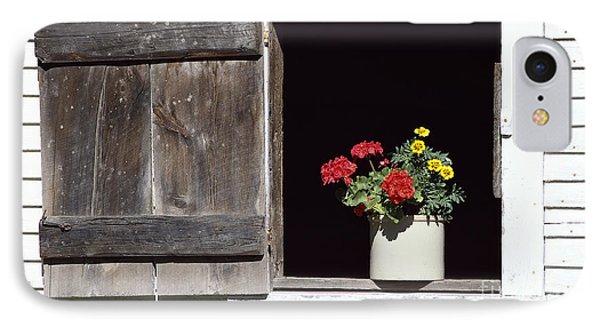 Barn Window Flowers IPhone Case by Alan L Graham